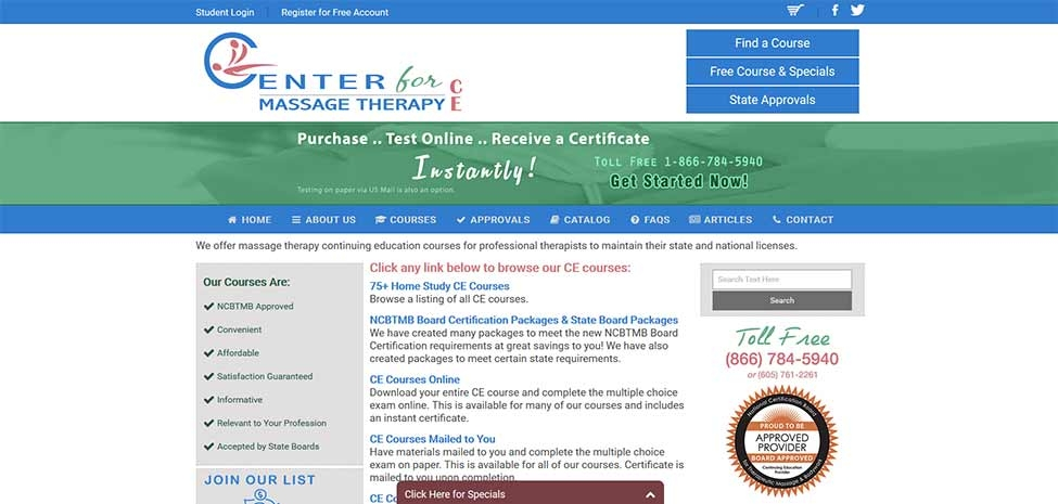 Center for Massage Therapy CE
